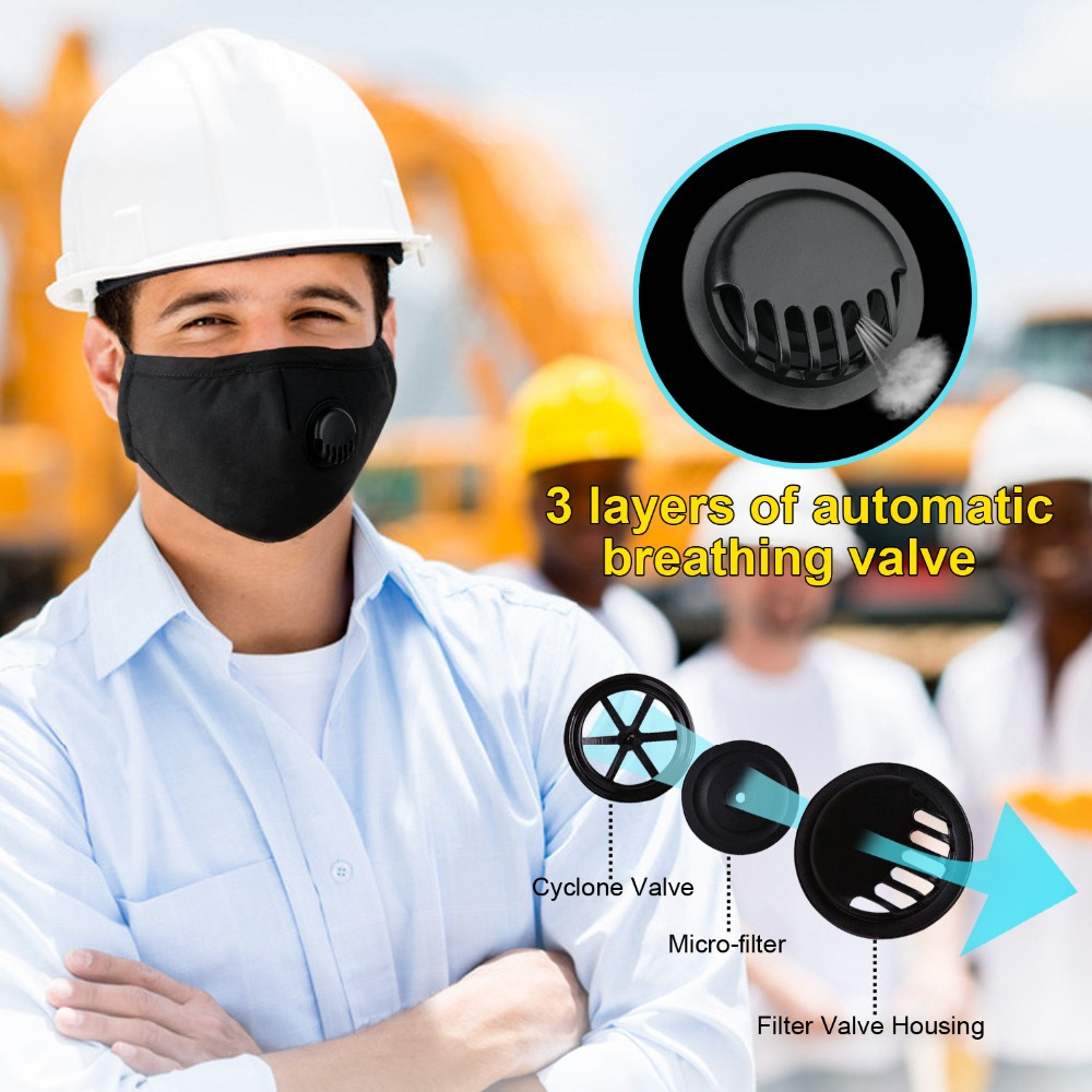 2 Activated Carbon Mask + 20 Filters Cotton PM2.5 with Breath Valve