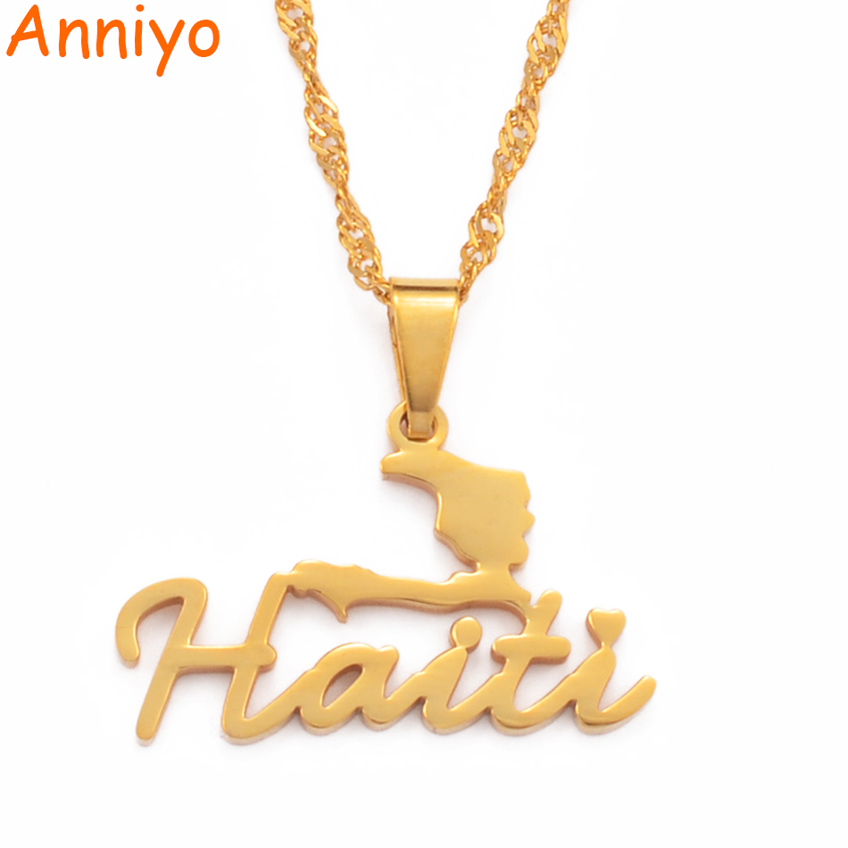 Anniyo Stainless Steel Charm Haiti Map Pendant Necklace Women Girls Ayiti Maps Gold Color Party Jewelry Haiti Accessories#076021(China)
