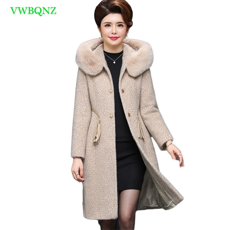 Новый Большие размеры Для женщин зимнее пальто вода бархат шерстяная куртка Для женщин с капюшоном меховой воротник шерстяное пальто тепла