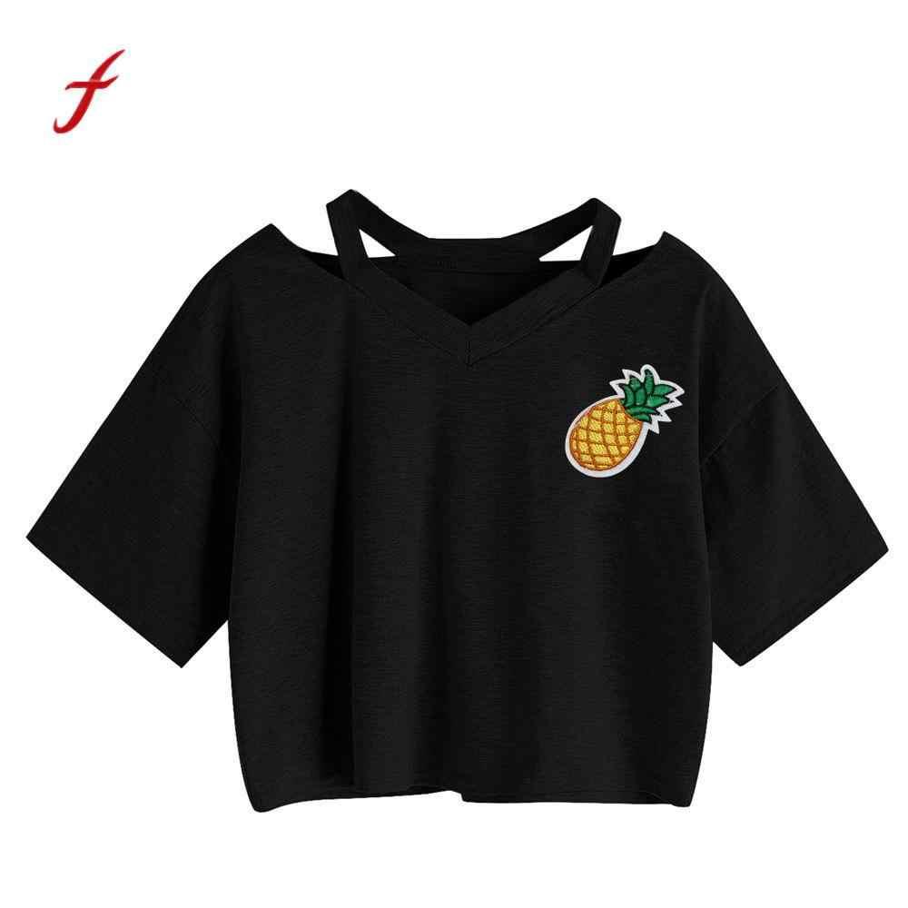 3aaf2b138a8 Pineapple Printed Tank Short Sleeve Crop Tops Women Summer Harajuku Top  Casual 2019 Ladies Clothing Female