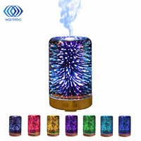 100ML 3D LED Lights Oil Diffuser Ultrasonic Cool Mist Aromatherapy Humidifier 16 Color Changing Starburst Light