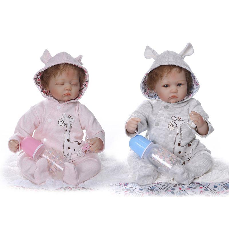 "24/"" Handmade Soft Vinyl Reborn Toddler Baby Dolls Lifelike Girl Doll Cat Clothes"
