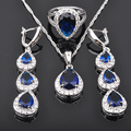 Perfect Blue White Stone Zirconia Women 925 Sterling Silver Jewelry Sets Pendant Necklace Earrings Rings Free Shipping  JS0456