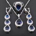 Perfeito Azul Branco Pedra Zircônia Mulheres 925 Libras Esterlinas Conjuntos de Jóias de Prata Pingente de Colar Brincos Anéis Frete Grátis JS0456