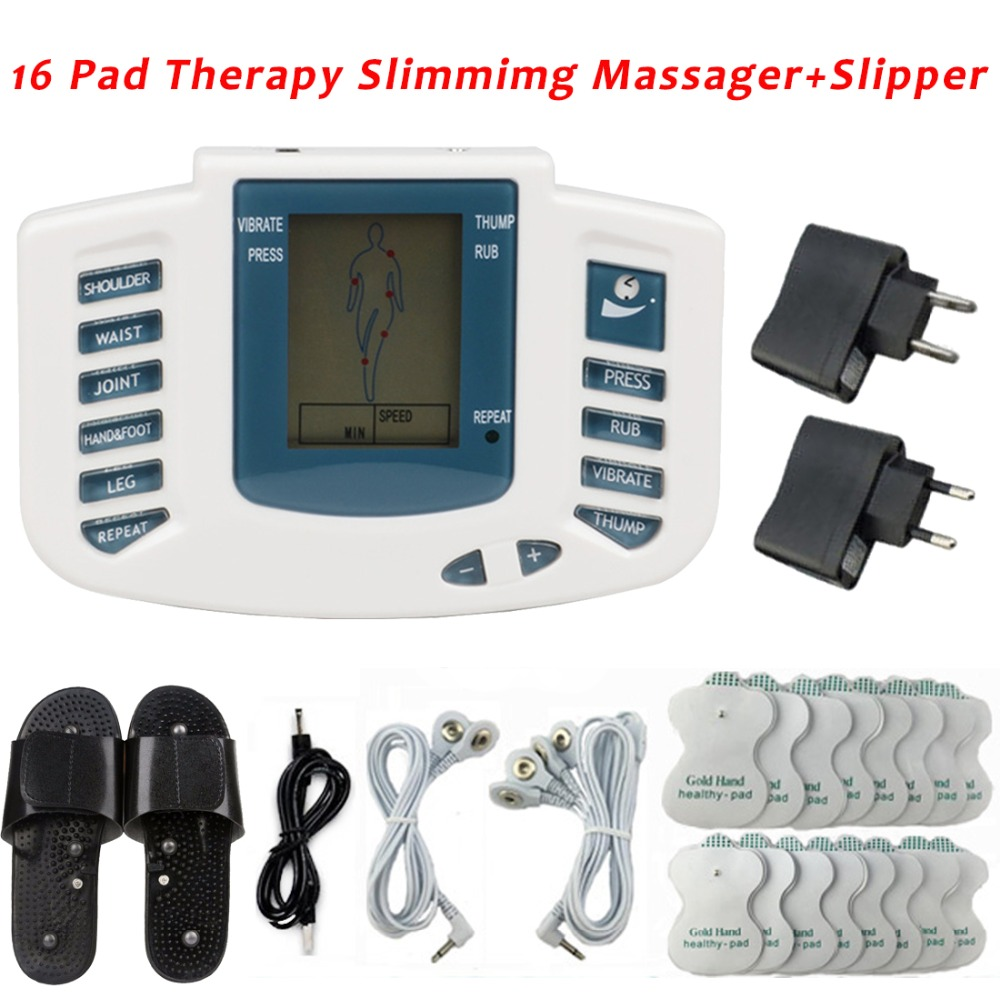 Electrical Stimulator Full Body Massage Relax Care Massage Pulse Tens Acupuncture Russian Button Therapy 16 Pads with Retail BoxElectrical Stimulator Full Body Massage Relax Care Massage Pulse Tens Acupuncture Russian Button Therapy 16 Pads with Retail Box