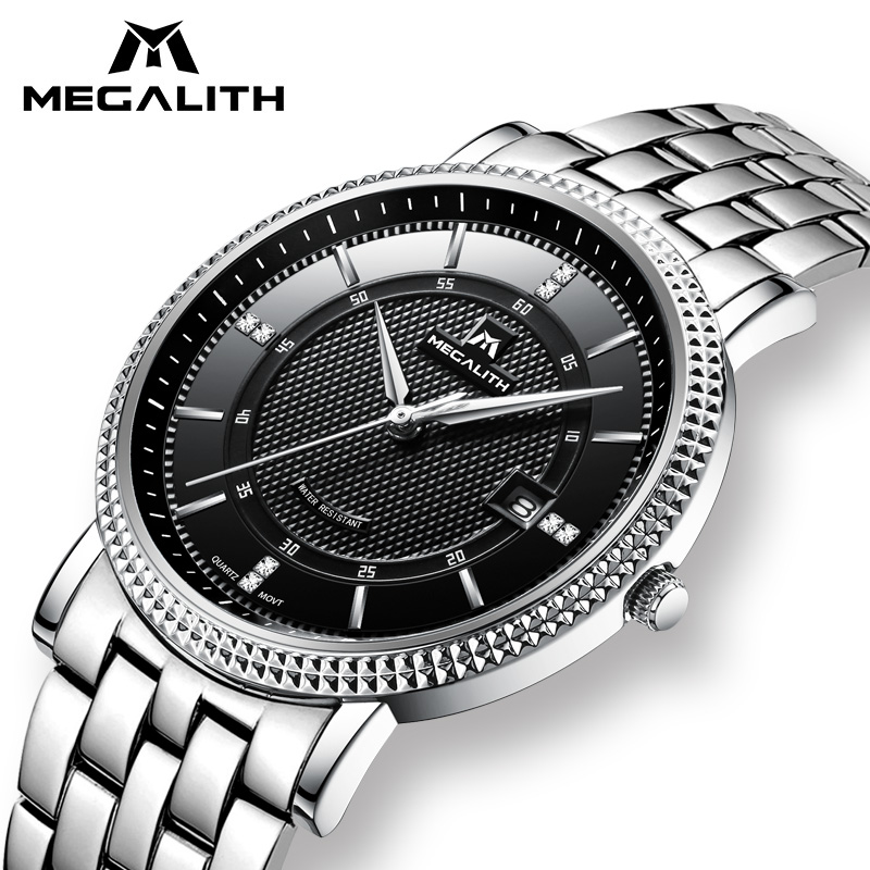 MEGALITH Mens Watches Top Brand Luxury Waterproof Date Calendar Classic Wrist Watch Gents Sport Military Watch Relogio Masculino megalith quartz watches mens waterproof chronograph calendar silver stainless steel wrist watch gents sport business men s watch