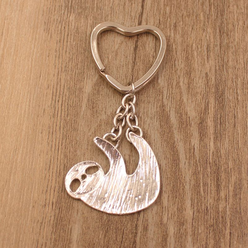 2018 New Cute Sloth Animal Gold Silver Plated Metal Pendant Keychain For Bag Car Women Men Male Female Key Ring Love Jewelry men s toyota honda nissan keychain hollow silver plated genuine leather car keychain key ring metal key chain pendant
