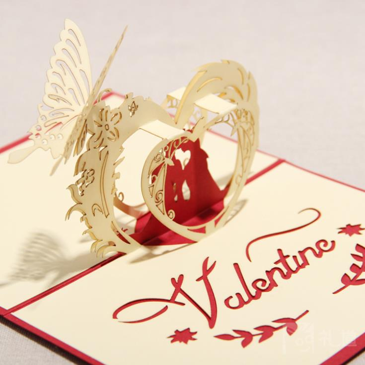 Aliexpress Buy 3D Greeting Card Happy Lovers Handmade – Valentine Card for Lover
