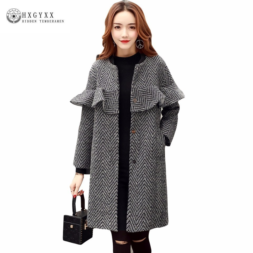 Long Jacket Women Wool Coat Winter 2017 New Ruffles Slim Cashmere ...