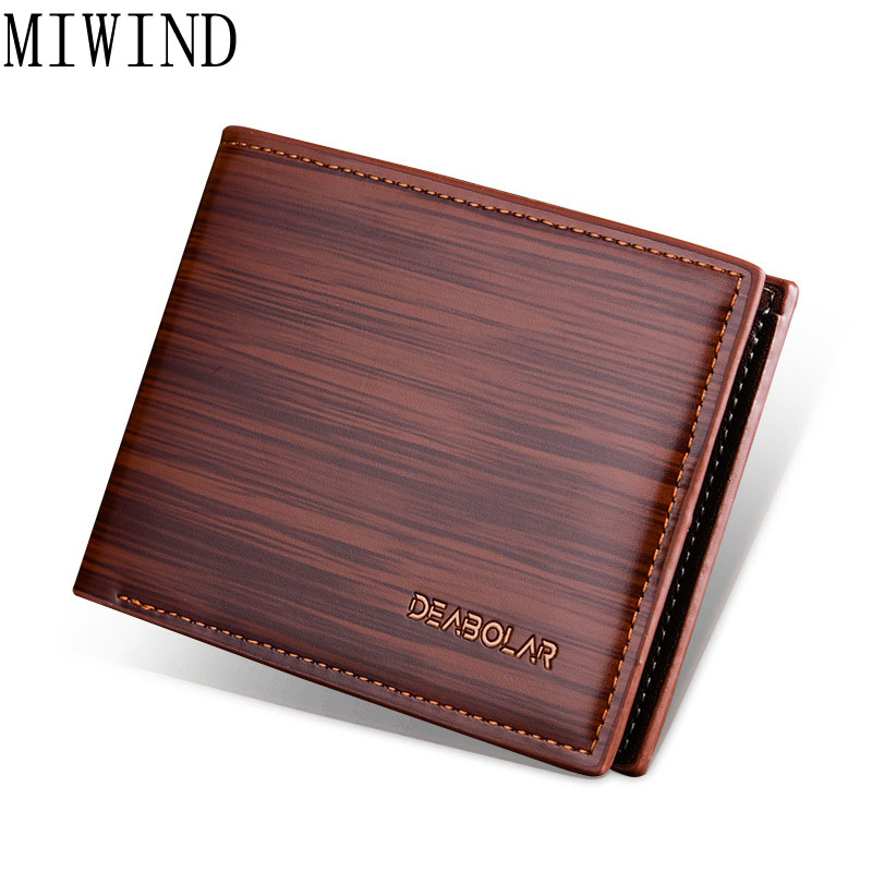 MIWIND Men Leather Brand Luxury font b Wallet b font Short Slim Male Purses Money Clip