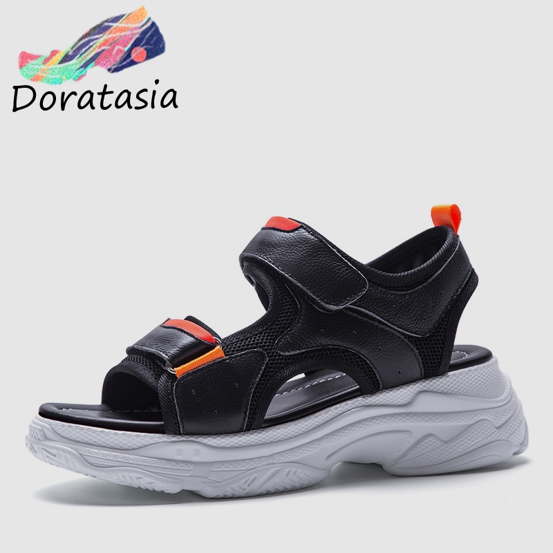 DORATASIA 2019 New Ins Hot Summer Flat Platform Sandals Women Genuine Leather large Size 35-42 Casual Women Beach Shoes WomanDORATASIA 2019 New Ins Hot Summer Flat Platform Sandals Women Genuine Leather large Size 35-42 Casual Women Beach Shoes Woman