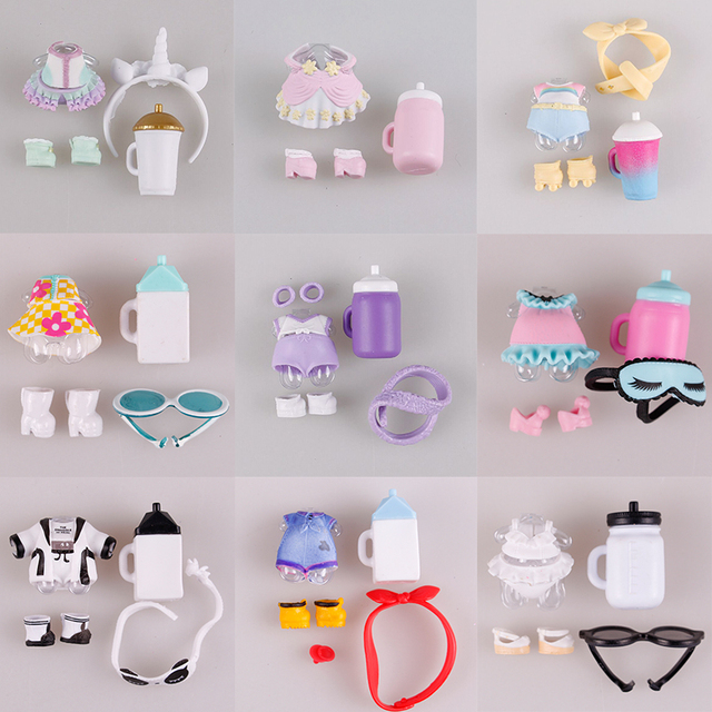 1 definir LOL Boneca roupas óculos garrafa sapatos Accessorries LOL lol acessórios na venda Original dolls coleção