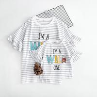 WNLEIGEL Summer Mother And Daughter T Shirt O Neck Striped Letter Printed Cartoon Casual White T