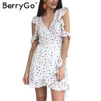 BerryGo Cold Shoulder Dot Print Ruffle Sexy Dress Irregular Bow Chiffon Vintage Short Dress Women Elegant