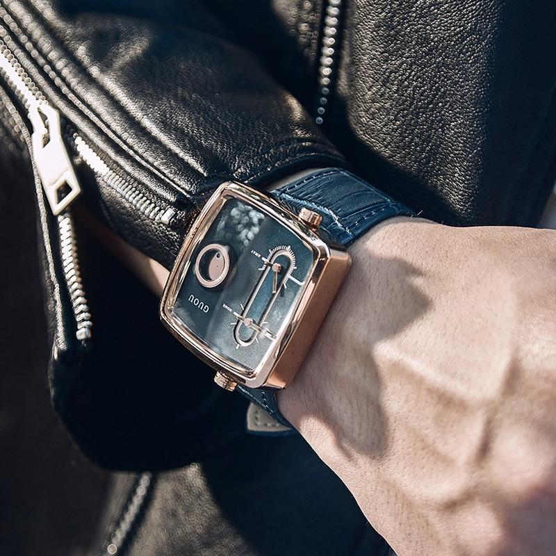Guou Men's Watch Double Quartz Movement Square Wrist Watches Fashion Cowhide Leather Commander Brand Luxury Presents For Men Hot