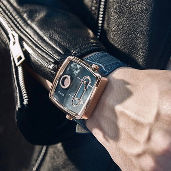 Guou Men's Watch Double Quartz Movement Square Wrist Watches Fashion Cowhide Leather Commander Brand Luxury Presents For Men Hot часы guou