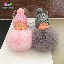 Sleeping Baby Mini Dolls Pom Pom Mini Girl Doll Toys For Children Kids Plush Fur Ball Stuffed Toys Girl Doll Bag Pendant Decor pom pom decor plaid shoulder bag