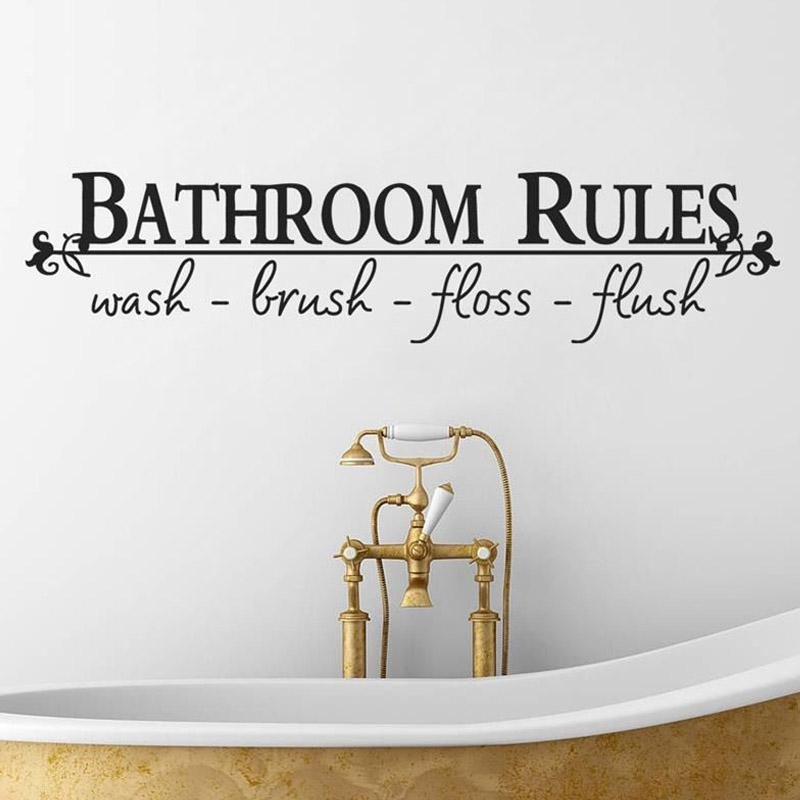 Bathroom Rules Wash Brush Floss Flush Wall Stickers Creative Vinyl Adhesive  Stickers Tile Wall Decor Wall Decals In Wall Stickers From Home U0026 Garden On  ...