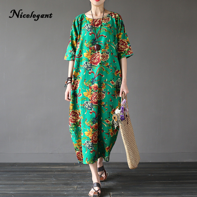 New 2019 Summer Cotton Linen Dress Women Print Floral Short Sleeve O-Neck Retro Chinese Style Vintage Loose Plus Size