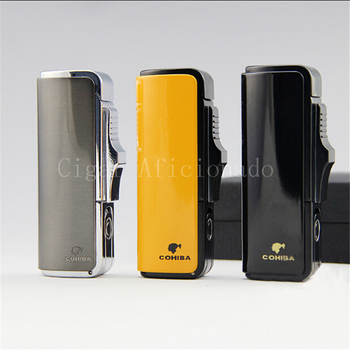 COHIBA Cool Gadgets Pretty Quality Metal Powerful Windproof Butane Gas 3 Torch Jet Flame Cigar Cigarette Lighter W/ Cigar Punch gadget