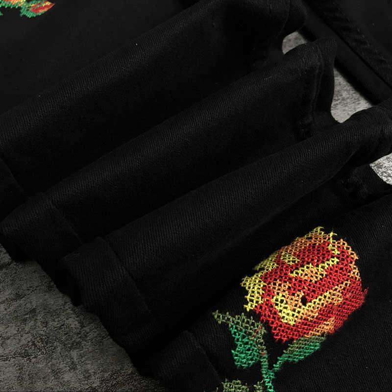 Venta caliente Jeans de moda de mujer rosa bordado Pantalones de cintura alta corte Slim elástico Cruz puntada negro lavado Pantalones