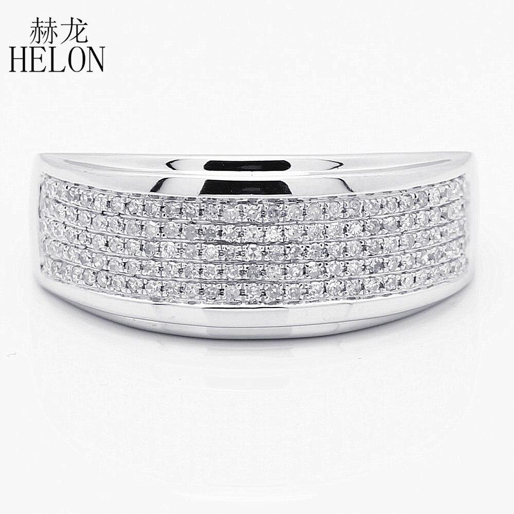 Helon Для Мужчин's Band 925 серебро 0.5ct природных алмазов Обручение обручальное кольцо стильные вечерние Glamorous Ювелирные украшения человек кольцо