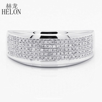 Helon الرجال الماس الاشتباك خاتم الزفاف الفرقة 925 فضة 0.5ct الطبيعية أنيق حزب براقة غرامة مجوهرات رجل الدائري