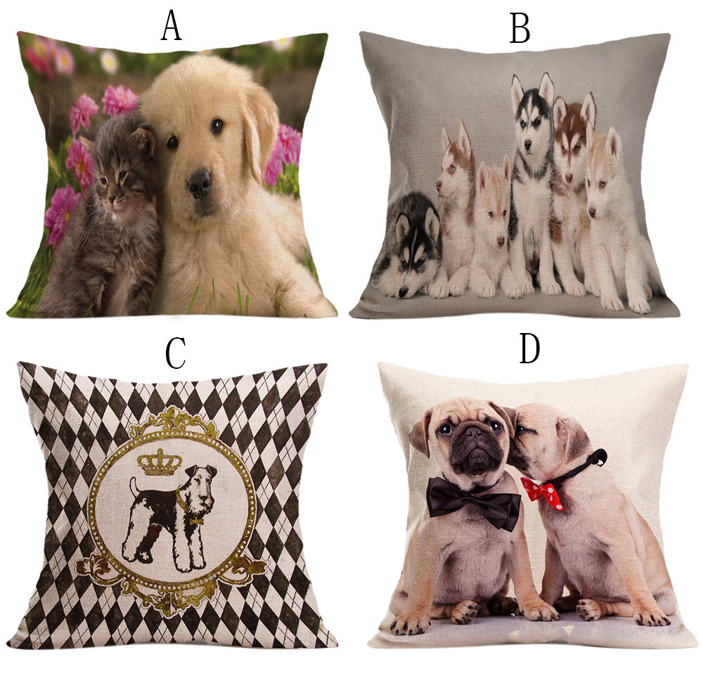 Animal cushion cover Dog for children Decorative Vintage Cute Dog Pillow Case Sofa Waist Throw Cushion Cover Home Decor almofada
