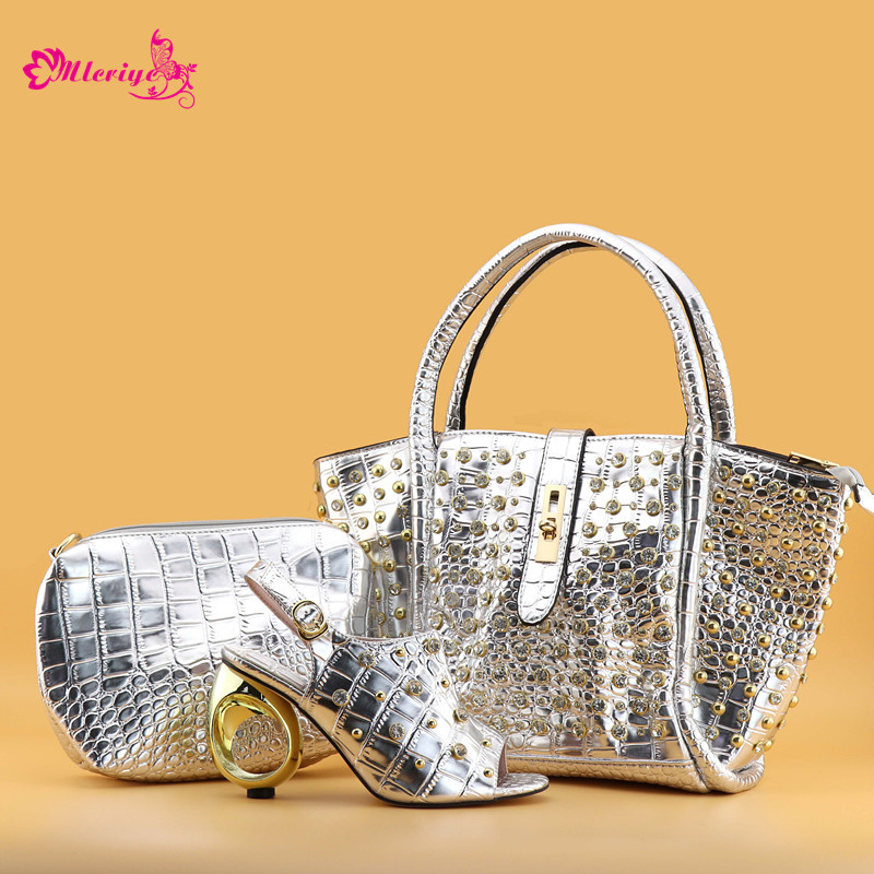 SILVER Nigerian Party Shoes and Bag Set Ladies Italian Shoes and Bag Set Decorated with Rhinestone Matching Shoe and Bag Set doershow african women talian shoes and bag set ladies italian shoe and bag set decorated with rhinestone nigerian party bb1 1