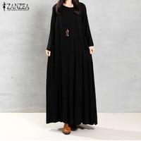 ZANZEA 2016 Autumn Women Vintage Maxi Long Dress Long Sleeve Pockets Casual Loose Solid Cotton Dresses