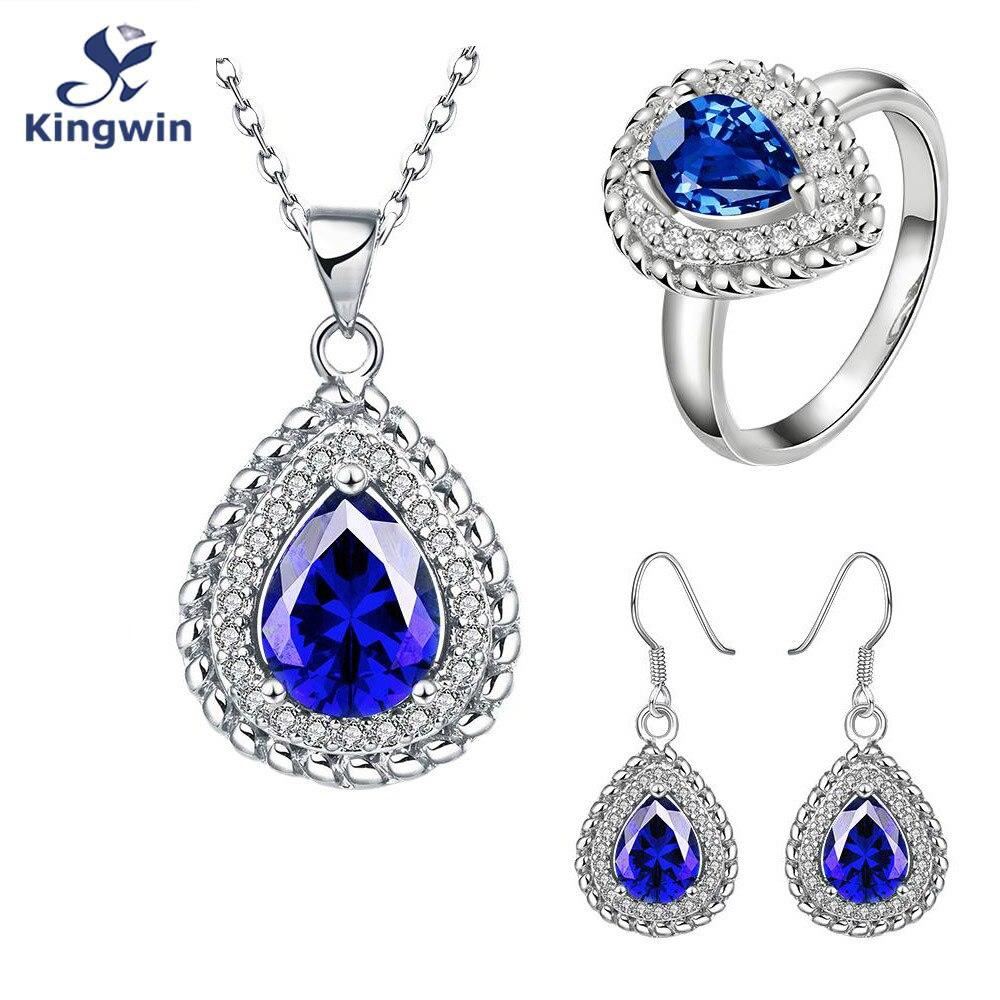 Свадебные Обручение Свадебные украшения комплекты и более тонкой Белое золото-синий цвет cz Jewelry серьги и кольцо оптовая продажа аксессуар