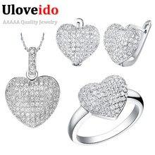 Srdcový set šperků – prsten + náušnice + řetízek