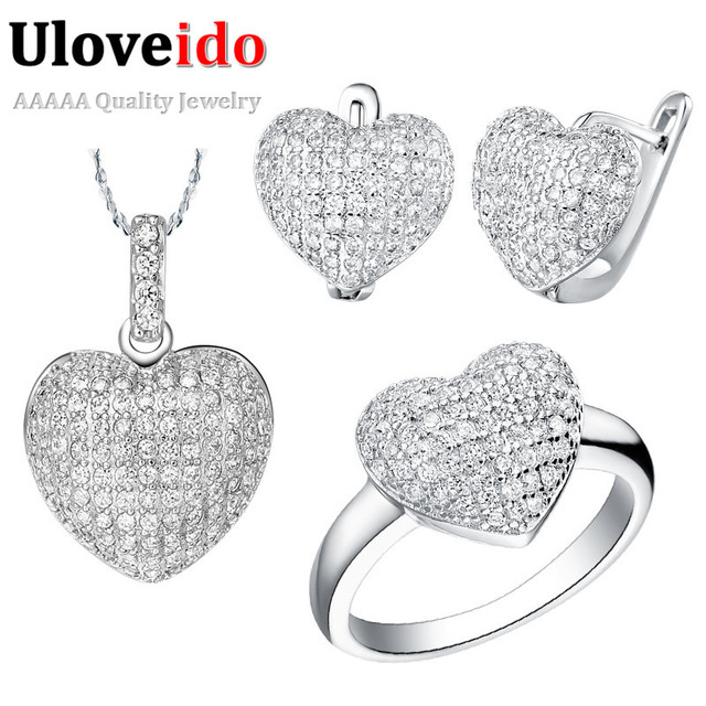 Uloveido 50% off African Wedding Jewelry Sets Costume Silver Plated Heart Love Shape Jewellery Necklace Earrings Ring Set T004