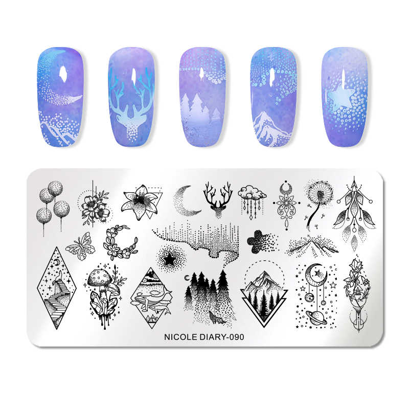 NICOLE DIARY Nail Art Stamping Plates Geometric Flowers Nail Art Stamp Stencil Template Manicure Tools