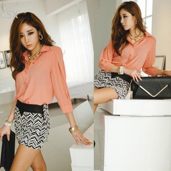 Fashion Chiffon Blouse 2014 New Plus size Women Spring Clothes Korea 3/4 Sleeve Lapel Collar Button Down Shirt Tops 3color