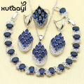 Clean Blue Synthetic Sapphire White Topaz 925 Sterling Silver 4PCS Jewelry Set For Women Earring Ring Necklace Pendant Bracelet