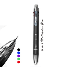 6 Colors Pen Creative Multicolor Ballpoint With  5 Ball 1 Automatic Pencil Multifunction Office School Supply