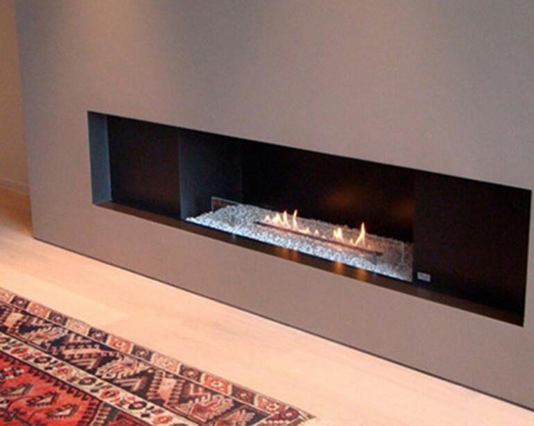 48 Inch Silver Or Black Wifi Intelligent Smart Built In Bioethanol Fireplace