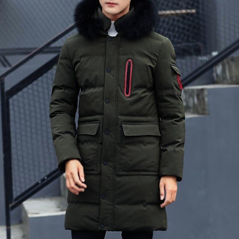 Hommes Veste Mâle Noir Green Marque Coton Épais Casual De Manteau Hiver 2018 gris army Qualité Mode Nouvelle Arrivée Parkas Vêtements Long N0wvm8n