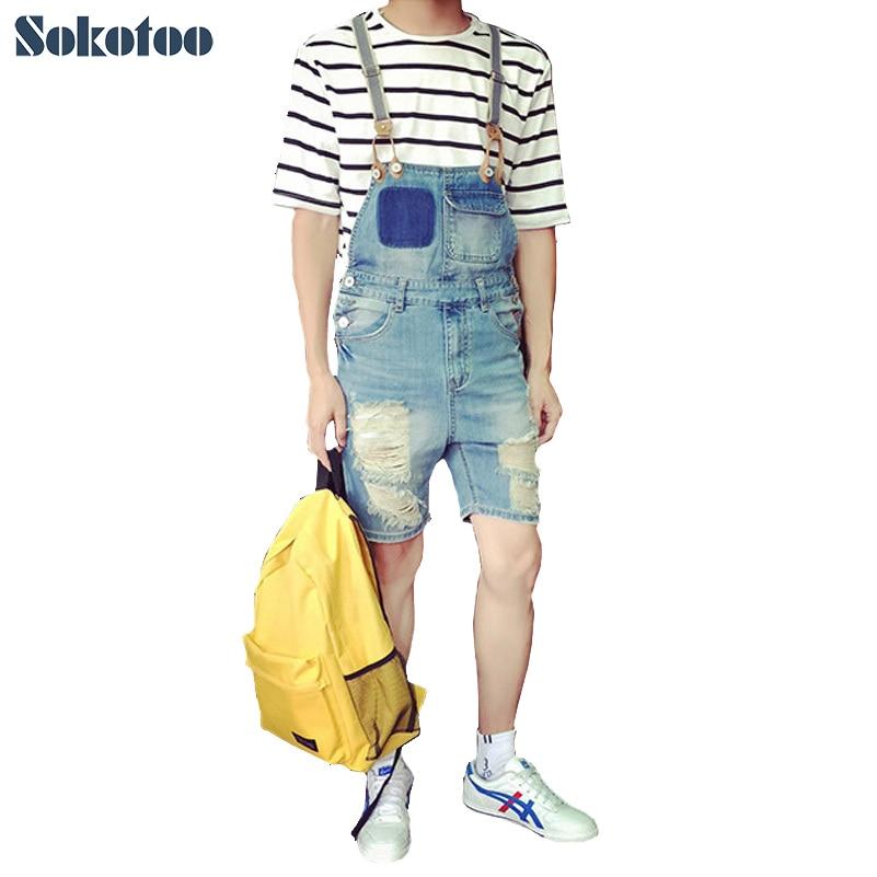 Sokotoo Men's fashion slim fit bib overalls Male holes ripped jeans Knee length Capri Shorts for man Free shipping