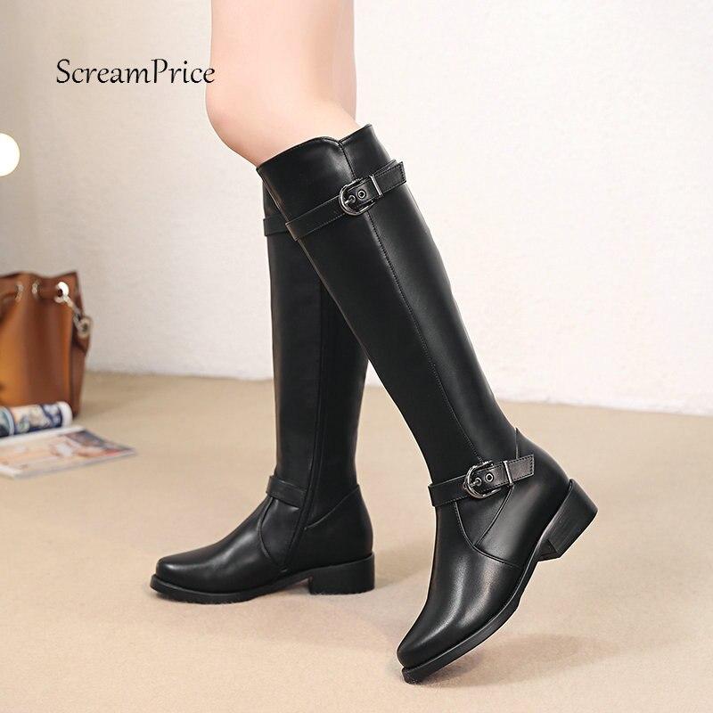 Women Knee High Boots Soft Pu Leather Flat Fashion Knee Winter Boots Comfortable Warm Fur Woman