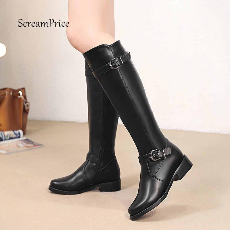 Femmes genou bottes hautes doux Pu cuir plat mode genou bottes d'hiver confortable chaud fourrure femme bottes longues chaussures grande taille 2018