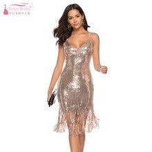 Горячая распродажа новые сексуальные коктейльные платья с глубоким v-образным вырезом и блестками вечерние платья с кисточками женские платья с открытой спиной DQG720