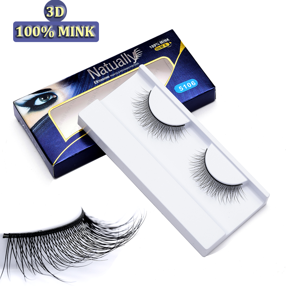 Handgemaakt 100% nertsenbont 3D-strip EyeLash Herbruikbaar 30 draagt - Make-up