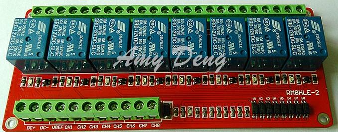 8 way relay module / bidirectional optocoupler / high and low can trigger / 5V, 12V, 24V optional