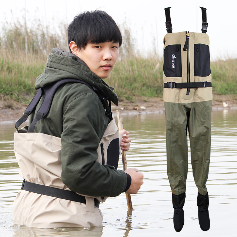 Stocking foot chest waders for men breathable chest pesca for Chest waders for fishing
