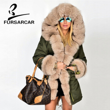 FURSARCAR New Arrival Real Fur Coat Women Luxury Winter Top Quality Thick Warm Fur Parka With Fox Fur Trim Hood And Cuff contrast trim bell cuff lace top
