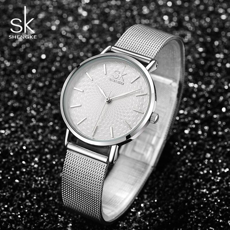 Shengke órák Női ezüst luxus rozsdamentes acél órák Reloj - Női órák - Fénykép 4