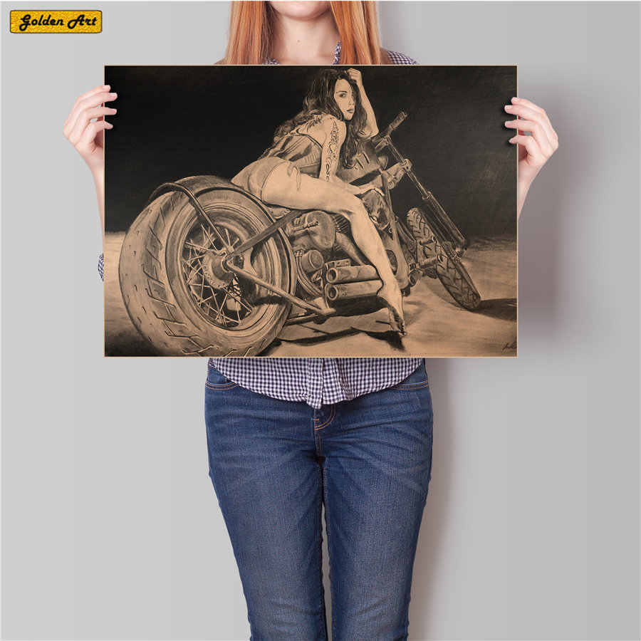 Motorcycle sexy woman Vintage Kraft Paper Poster Home Decoration Retro print painting Wall Sticker for bar cafe 45.5x31.5cm