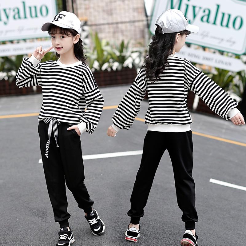f4cbf4b6277 Sport Suit for Girls Autumn Winter School Uniform Black White Striped  Pullover + Pants Teenage Girls. Tμήμα. Παιδικά
